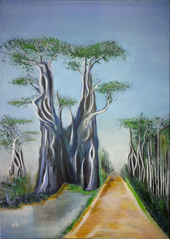 Question de Route des Baobabs - peinture 70 x 50 cm