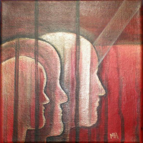 Barreaux dedans, peinture de Marie Hurtrel