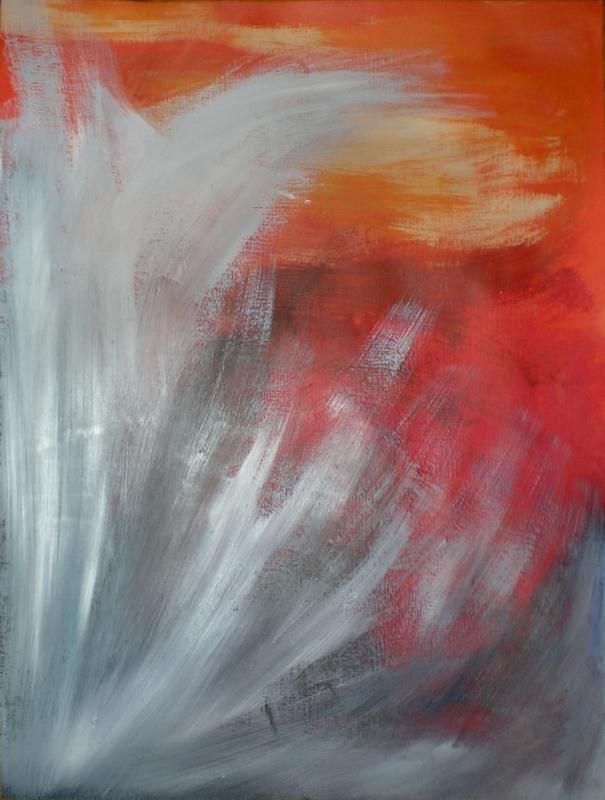Météore dans le Pacifique, peinture de Marie Hurtrel