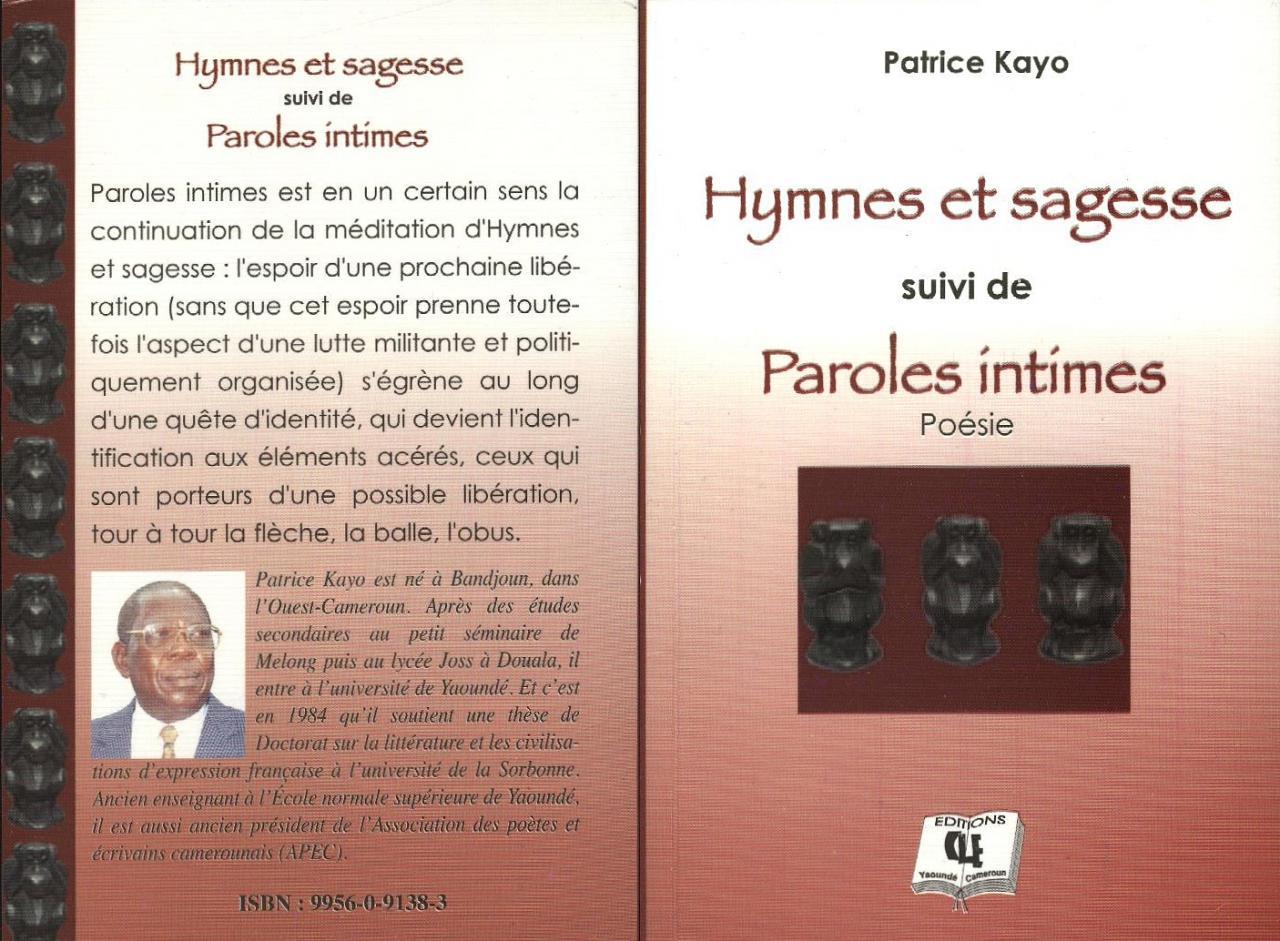 Hymnes et sagesse - Paroles intimes - Patrice Kayo