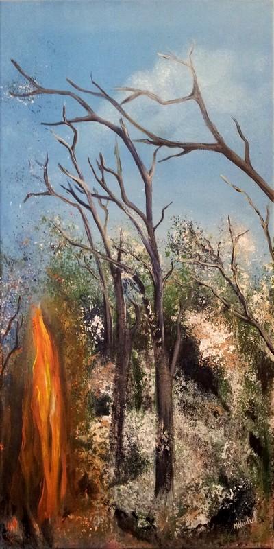Tableau de Marie HURTREL représentant un paysage en feu.